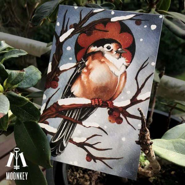 Carte Postale Winter Bird Moonkey
